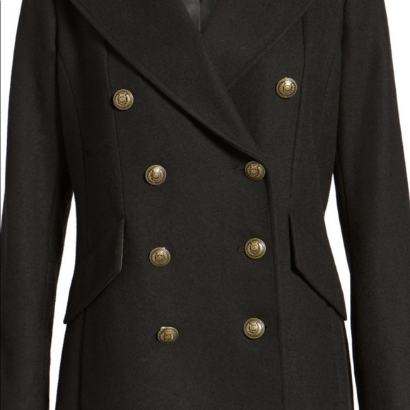 French Connection Long Military Wool-Blend Coat